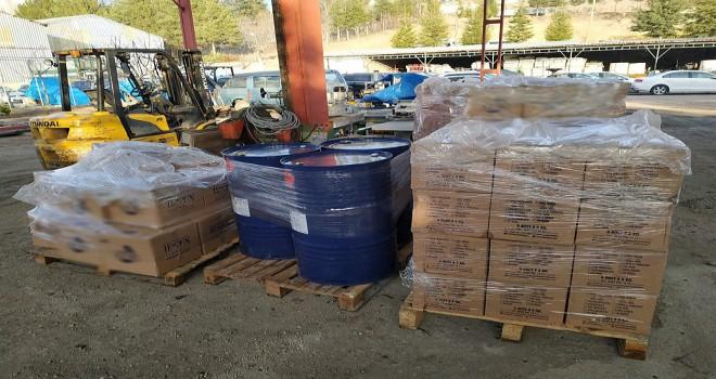 Kahramankazan'da 2 bin 500 litre Kaçak dezenfektan ele geçirildi